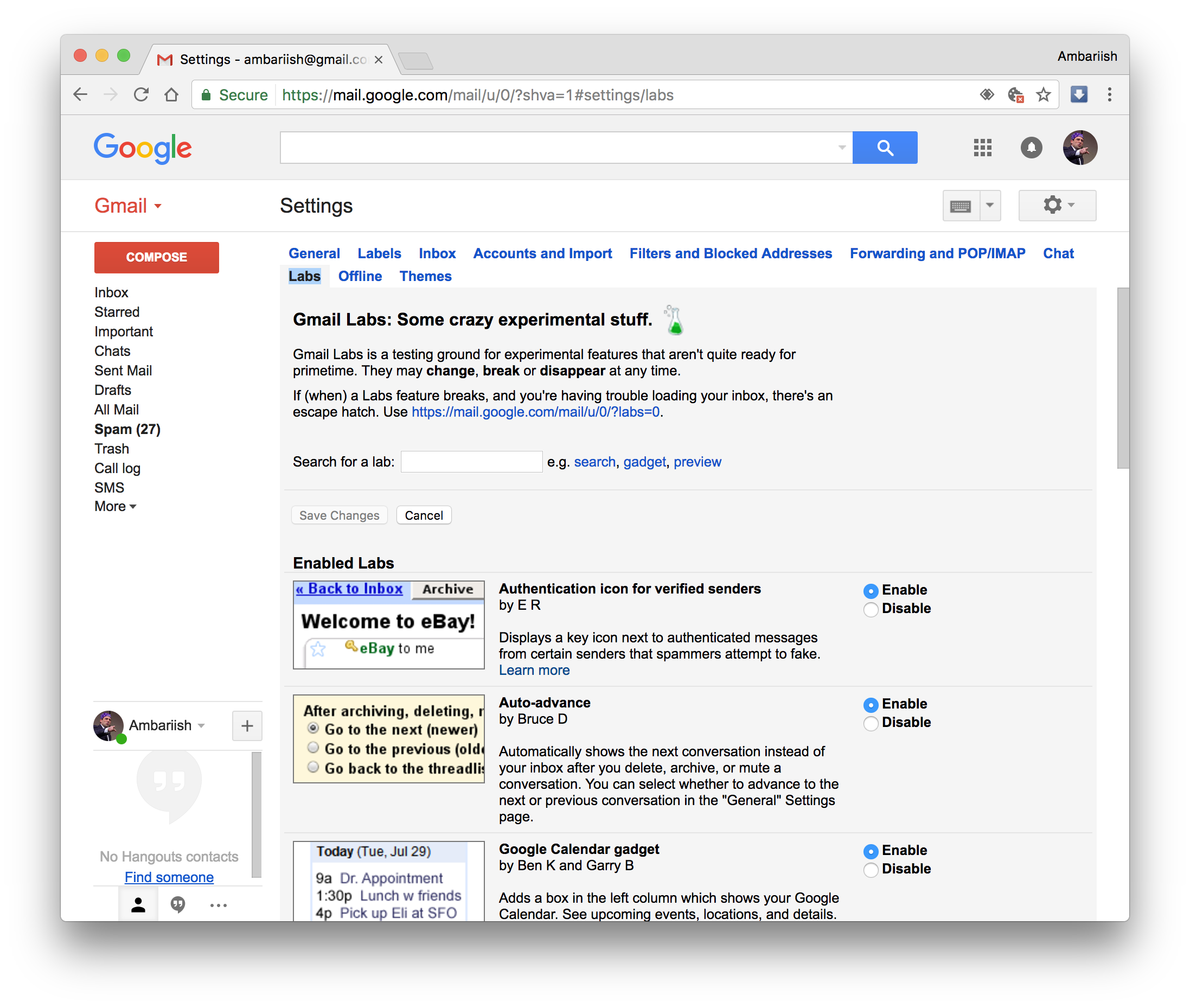 Visit Gmail Labs