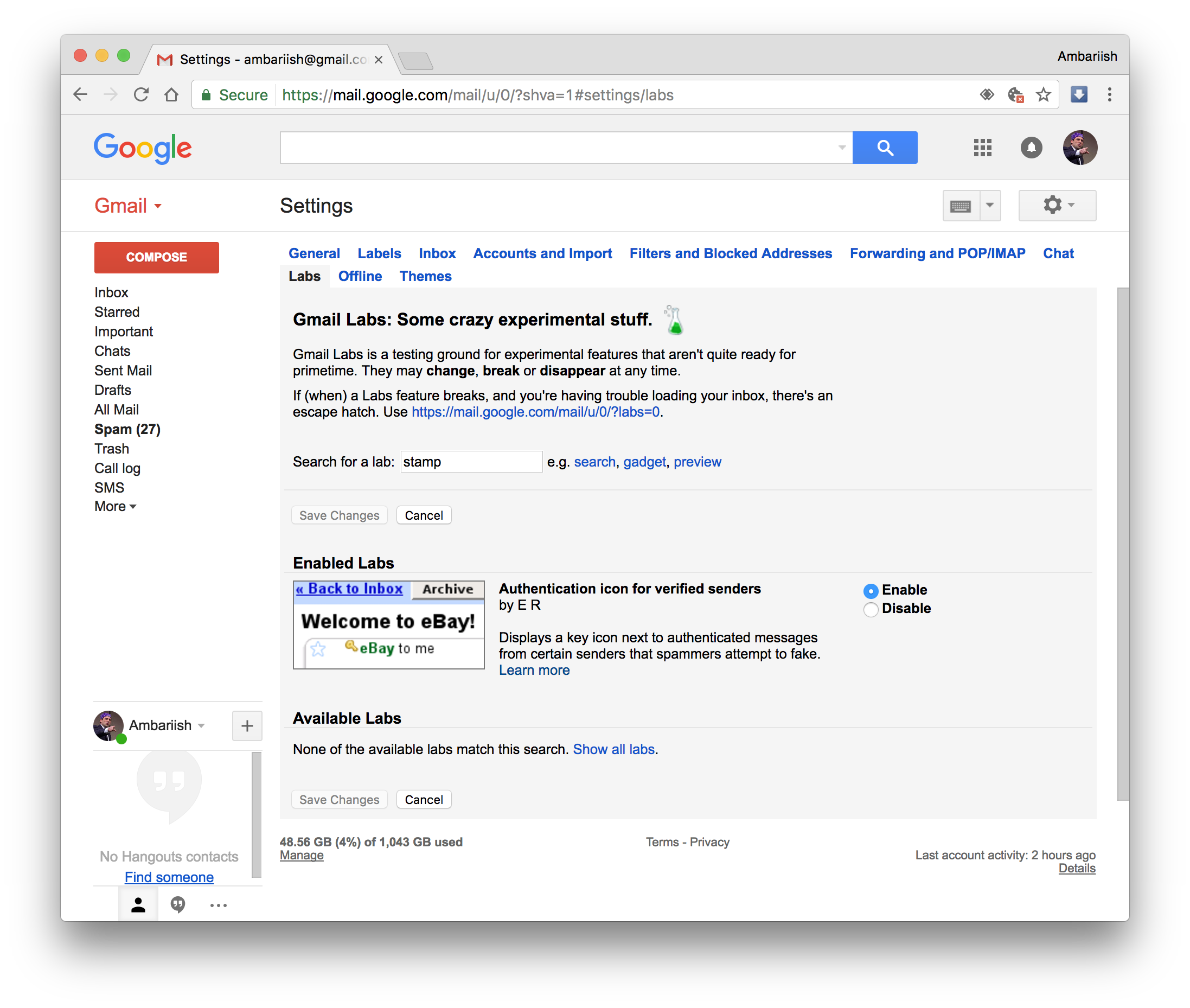 Enable Authentication icon in Gmail