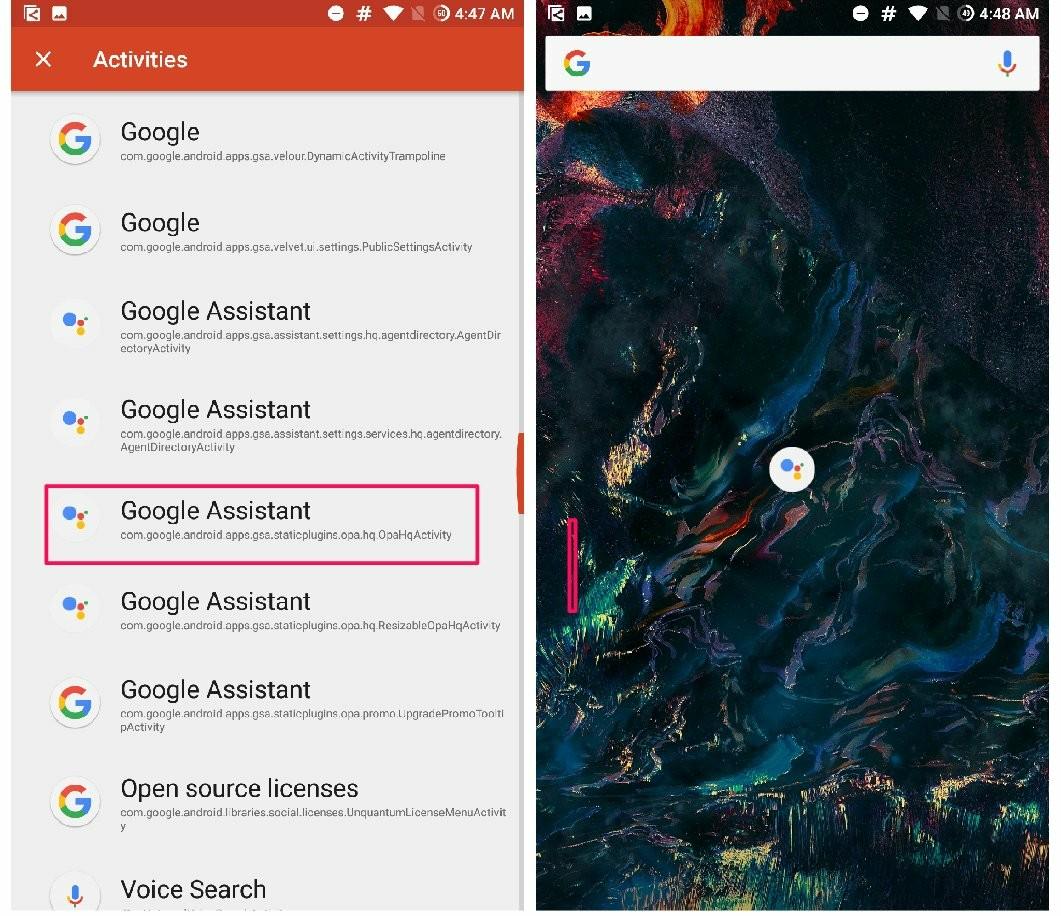 Assistant app hidden within google app