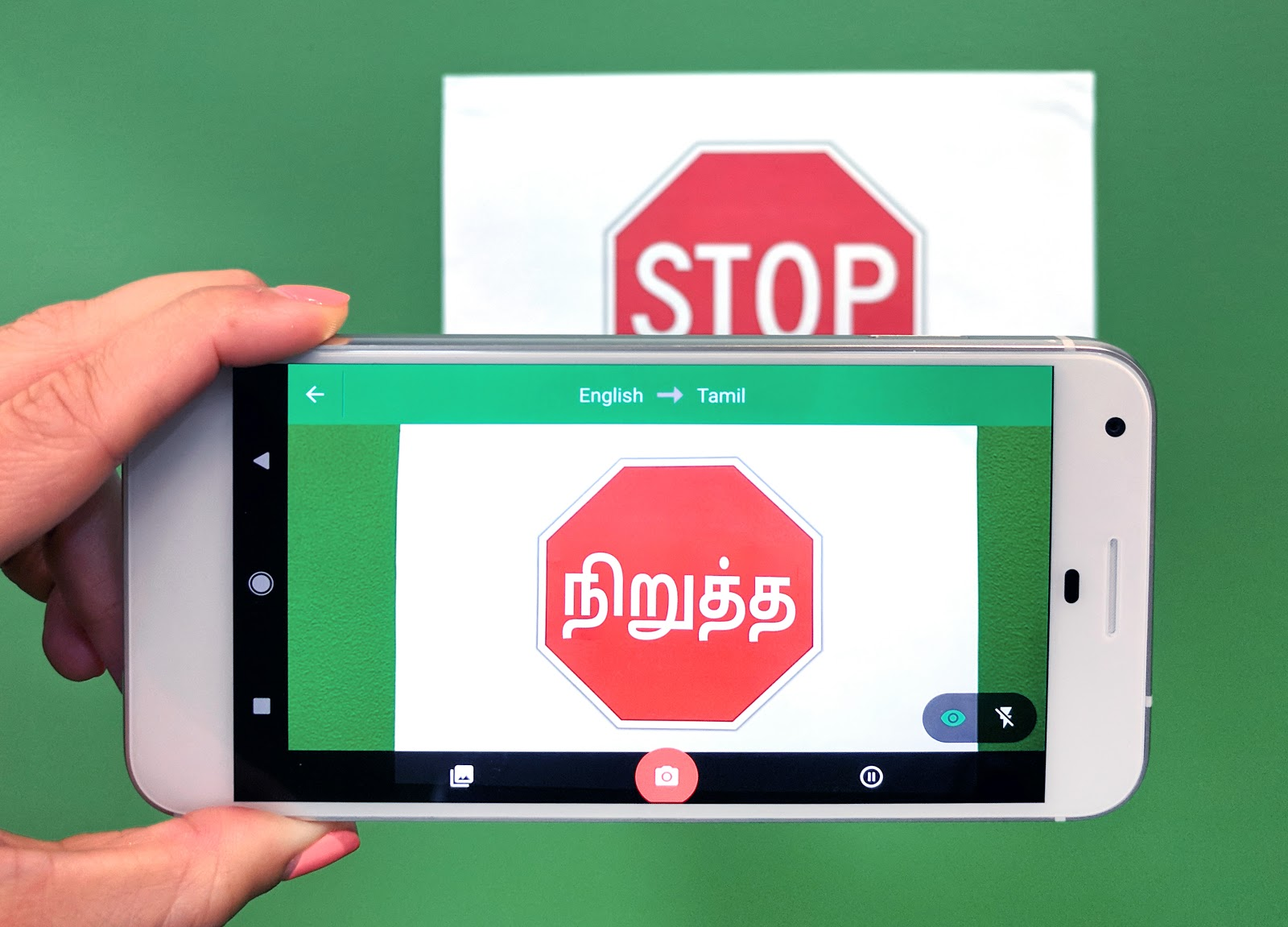 WordLens translating English to Tamil on Google Translate