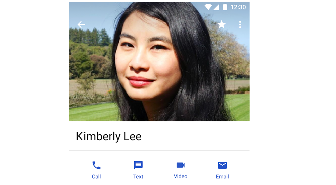 Bigger contact picture with quick action buttons below.