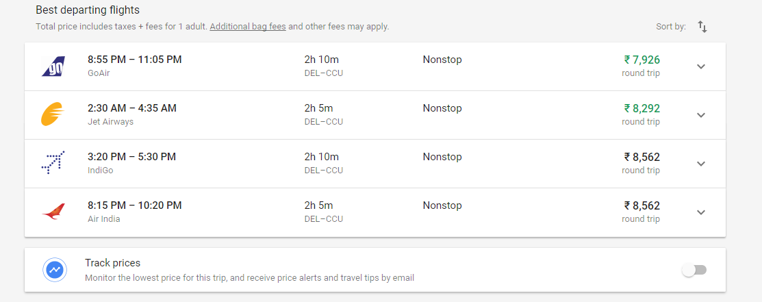 you can track prices and set fare alerts