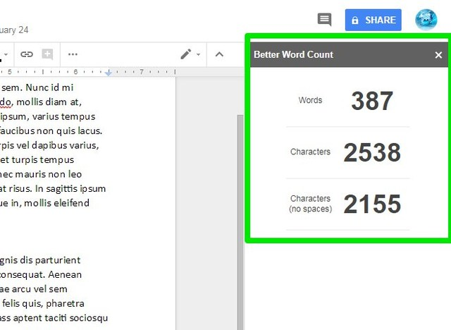better word count google docs add-on