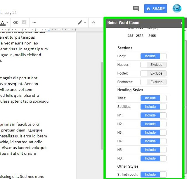 better word count add-on settings