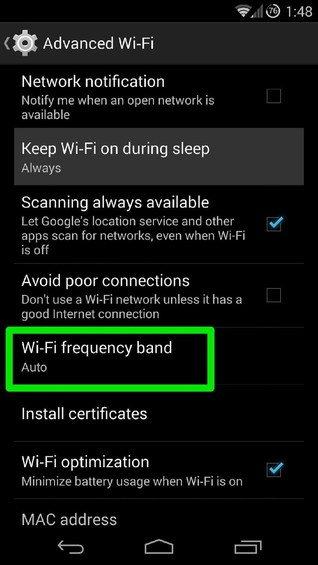 set wifi frequency band to 2.5ghz