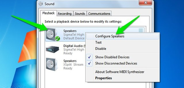 configure speaker setup in windows