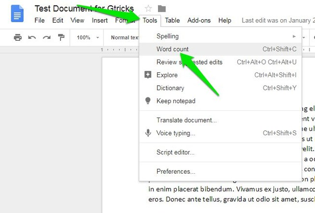 check word count on google docs desktop