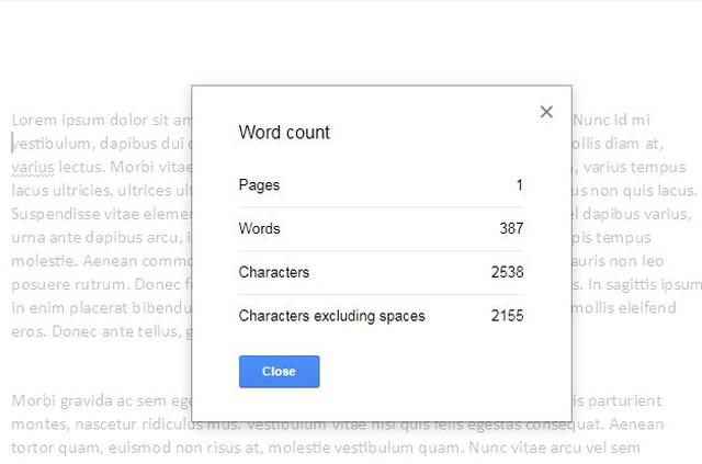 google docs word count window