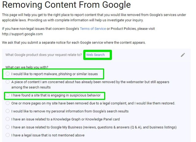 remove harmful search results from google