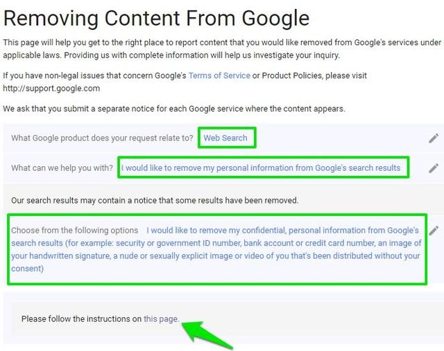 remove personal google search results