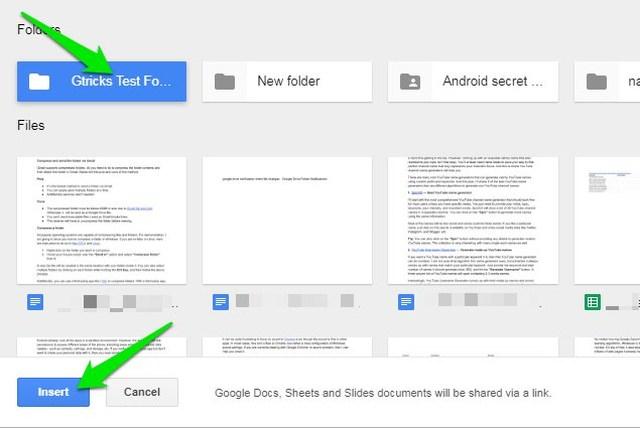 google drive select a folder