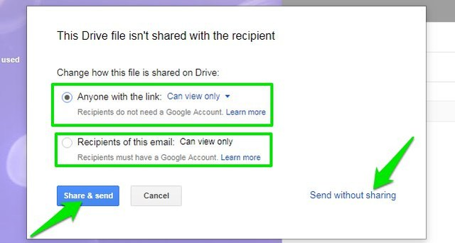 share and sending option of google drive