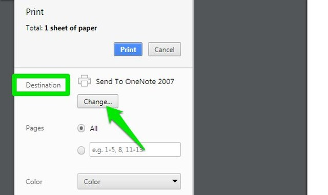 change PDF print destination