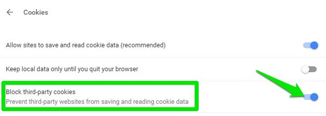 disable third-party cookies in chrome