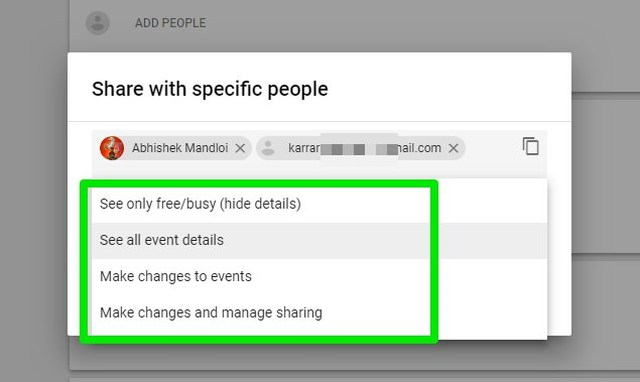 select sharing permissions