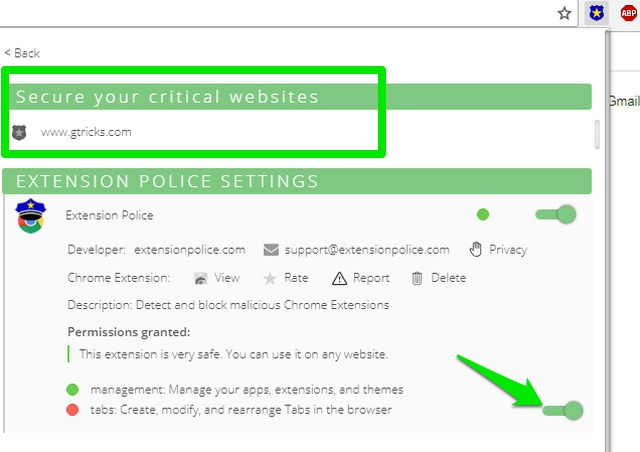 enable secure critical websites feature