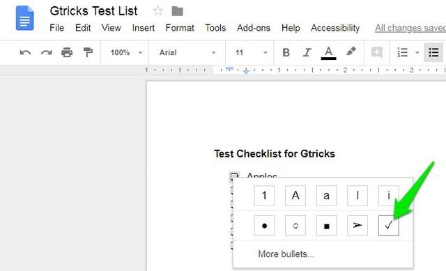 select tick mark option