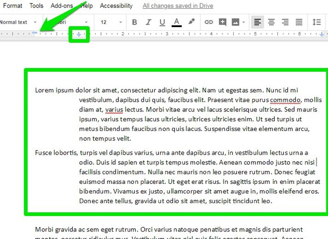 hanging indent create on Google Docs