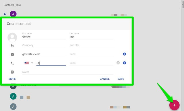 Manually add contact in Gmail