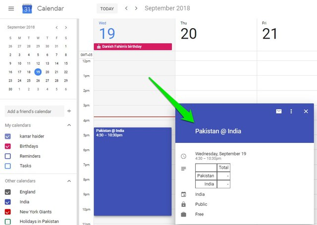 sport fixture added to Google Calendar