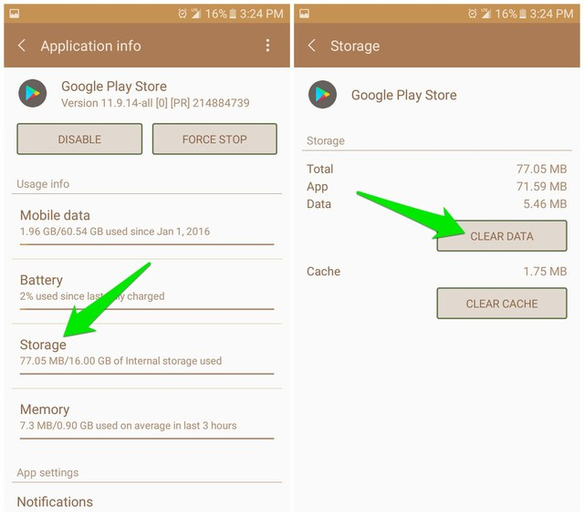Clear Google Play Store data and cache