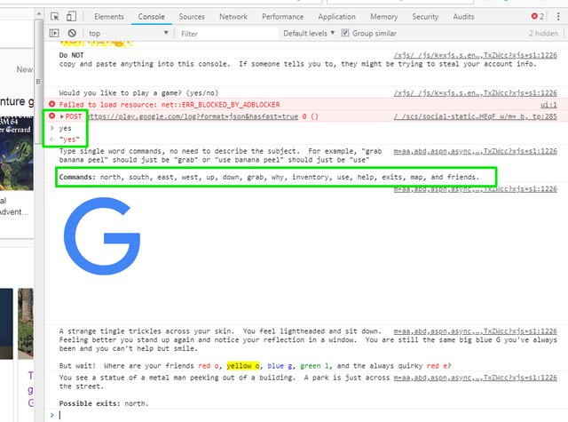 start Google text adventure game