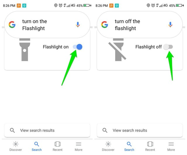 use Google Assistant to turn on flashlight