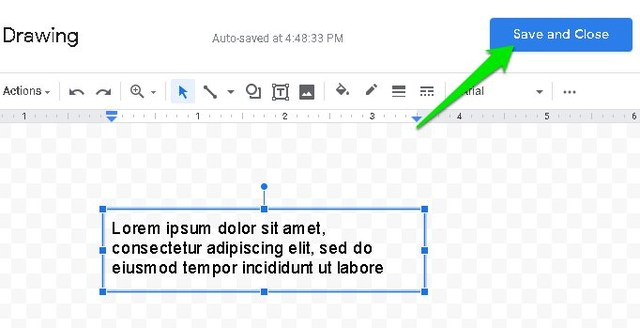 Insert text box in Google Document
