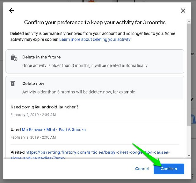 Automatically delete Google Web and App Activity