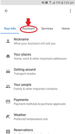 Assistant tab