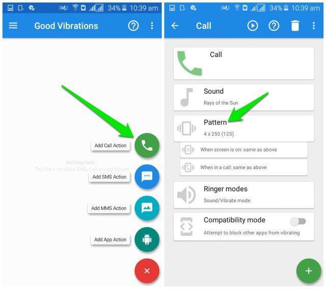 Add custom vibration for calls