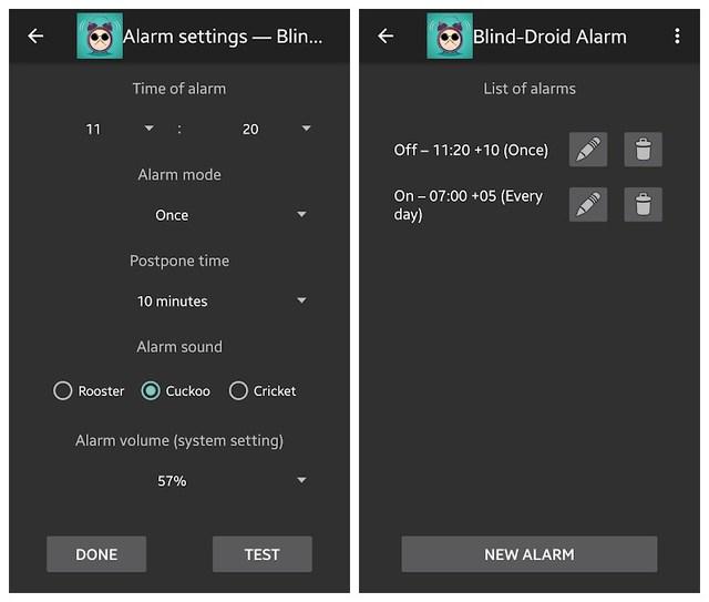 Blind Droid Alarm