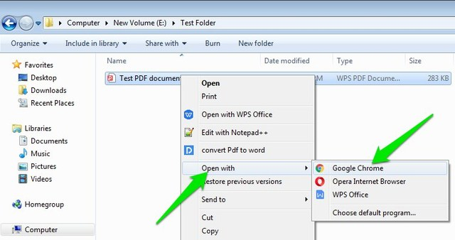 Open PDF in Google Chrome
