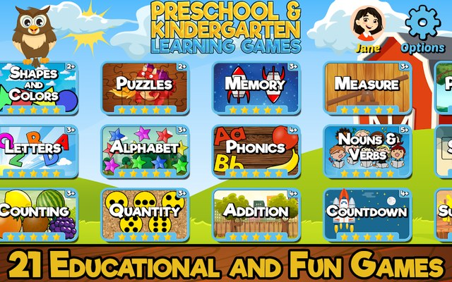 Preschool and Kindergarten Learning Games