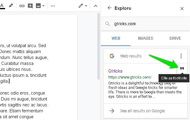 cite source in Google Docs