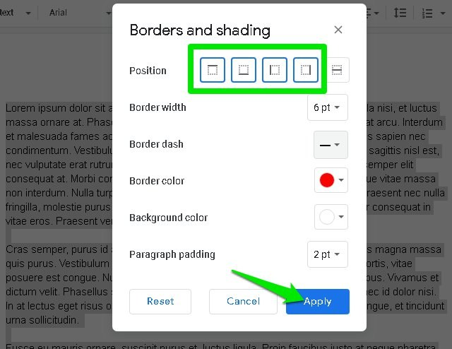 Customize border options