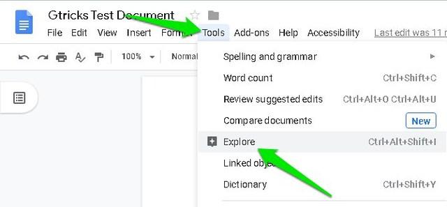 Google Docs Explore feature