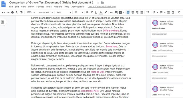 Compare documents in Google Docs