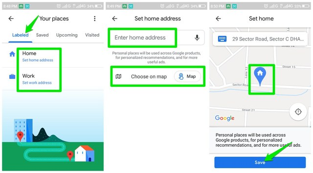 Add home address in Google Maps