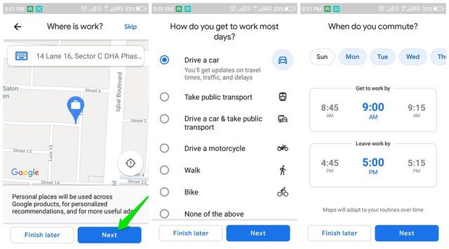 Add work address in Google Maps