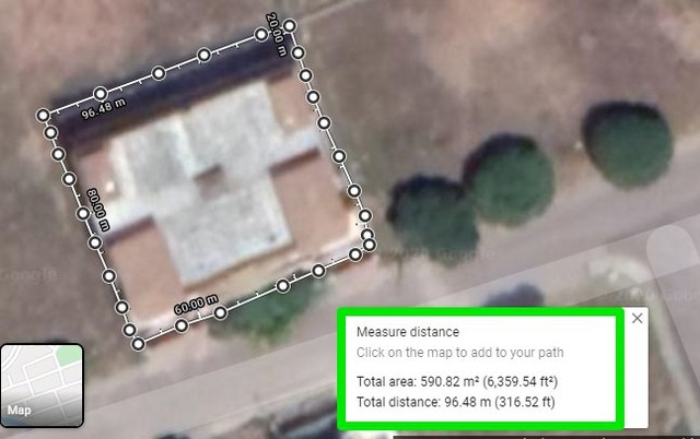 Measurement of an area on Google Maps