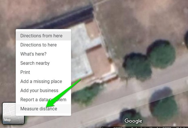 Measure distance option in Google Maps