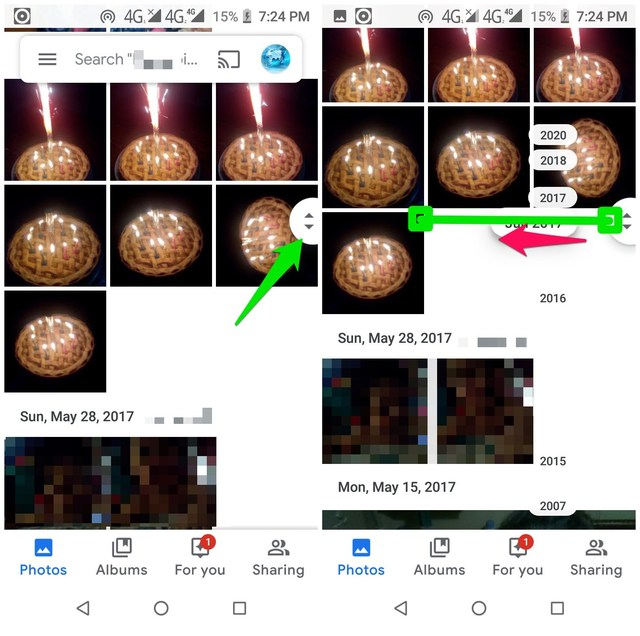 Easily scroll in Google Photos
