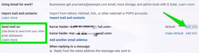 edit email info