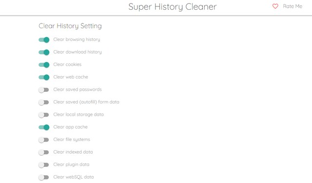 Super History & Cache Cleaner interface options