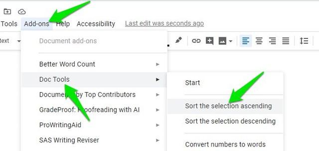 Alphabetize in Google Docs
