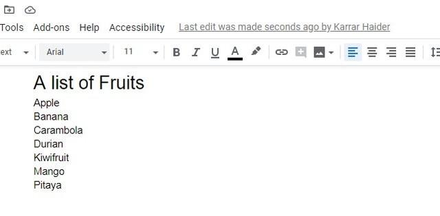 Alphabetized list