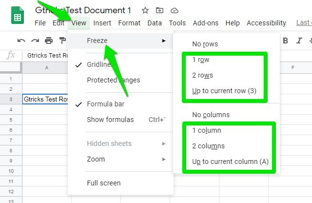 Freeze a row or column in Google Sheets desktop