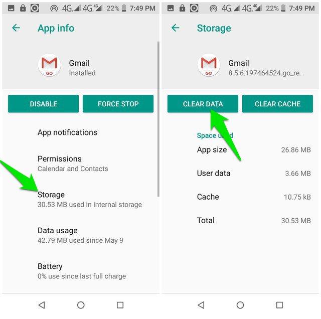Gmail Clear data