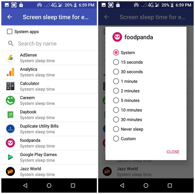 Keep Android screen on for certain apps